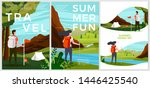 vector summer posters set  ... | Shutterstock .eps vector #1446425540