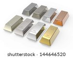 Set of valuable metals ingots isolated on white. 3D photo rendering. - stock photo