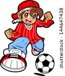 Happy Young Man Boy Soccer Player in Anime Manga Cartoon Style