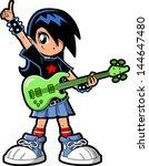 Anime Manga Girl Goth Emo Rock Star Guitar Bass Player
