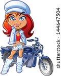 biker girl posing with white... | Shutterstock .eps vector #144647504