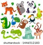 set of cartoon cute jungle... | Shutterstock .eps vector #1446512183