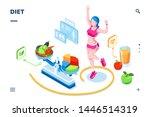 isometric screen for diet... | Shutterstock .eps vector #1446514319