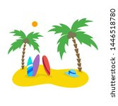 summer seascape with palm trees ... | Shutterstock .eps vector #1446518780