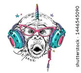 fun monkey in a pink glasses ... | Shutterstock .eps vector #1446545090