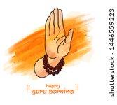 Guru purnima festival of indians and nepalese dedicate to spritual teachers and gurus. concept of guru hand, give blesses to his shishya.