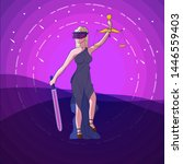 justice femida with scales ... | Shutterstock . vector #1446559403