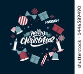 merry christmas and a happy new ... | Shutterstock . vector #1446589490