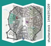 design map city gps with... | Shutterstock .eps vector #1446591209