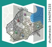 design map city gps with... | Shutterstock .eps vector #1446591233