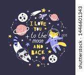 cute card with fox  raccoon...   Shutterstock .eps vector #1446601343