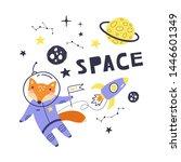 cute card with fox astronaut ...   Shutterstock .eps vector #1446601349