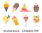 collection of vector ice cream... | Shutterstock .eps vector #1446601709
