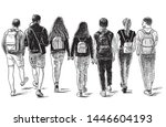 sketch of a group of students... | Shutterstock .eps vector #1446604193