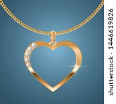 necklace with a heart shaped... | Shutterstock .eps vector #1446619826