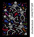 skeletons dancing at a party.... | Shutterstock .eps vector #1446707189