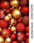 red and golden christmas... | Shutterstock . vector #144672290