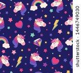 cute unicorn  rainbow  diamond  ... | Shutterstock .eps vector #1446749030