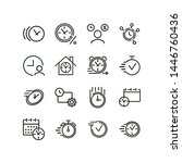 time concept icons. set of line ... | Shutterstock .eps vector #1446760436