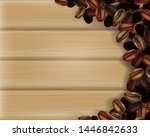 coffee beans on wood planks... | Shutterstock .eps vector #1446842633