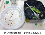 Empty White Plastic Plate And...