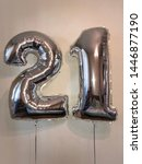 Small photo of Big balloons in the form of numbers - twenty one
