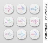 arrows app icons set. wavy ...