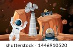 astronaut in space scene... | Shutterstock .eps vector #1446910520
