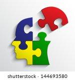 color puzzle head   vector... | Shutterstock .eps vector #144693580