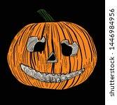 hand drawn halloween pumpkin... | Shutterstock .eps vector #1446984956