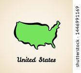 green simplified map of united... | Shutterstock .eps vector #1446991169