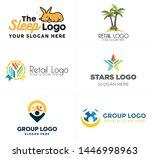 black line art logo design icon ... | Shutterstock .eps vector #1446998963