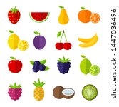 fruit icons set  flat design... | Shutterstock .eps vector #1447036496
