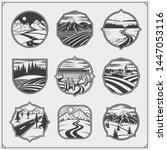 collection engraving landscapes.... | Shutterstock .eps vector #1447053116