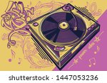 funky colorful drawn musical... | Shutterstock .eps vector #1447053236