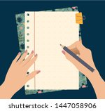 female hands hold a pencil  top ... | Shutterstock .eps vector #1447058906