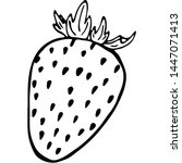 outline fruit strawberry. vegan ... | Shutterstock .eps vector #1447071413