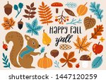 vector autumn set with bright... | Shutterstock .eps vector #1447120259