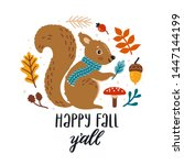 vector autumn card with smiling ... | Shutterstock .eps vector #1447144199
