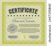 yellow certificate template or... | Shutterstock .eps vector #1447190840
