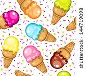 vector ice cream cone pattern | Shutterstock .eps vector #144719098