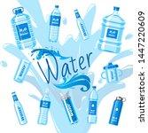 water bottles made of plastic... | Shutterstock .eps vector #1447220609