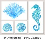 set of sea elements in blue... | Shutterstock .eps vector #1447233899