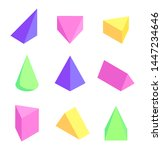geometric prisms set colorful... | Shutterstock . vector #1447234646