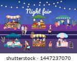 Night Street Fair Flat Vector...