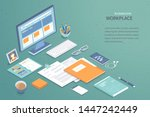 workplace background. top view... | Shutterstock .eps vector #1447242449
