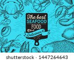 seafood illustration   fish ... | Shutterstock .eps vector #1447264643