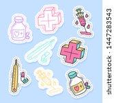 set of medicine stickers  pins  ... | Shutterstock .eps vector #1447283543