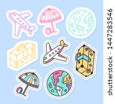 set of travel stickers  pins ... | Shutterstock .eps vector #1447283546