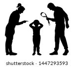 child abuse silhouette vector.... | Shutterstock .eps vector #1447293593